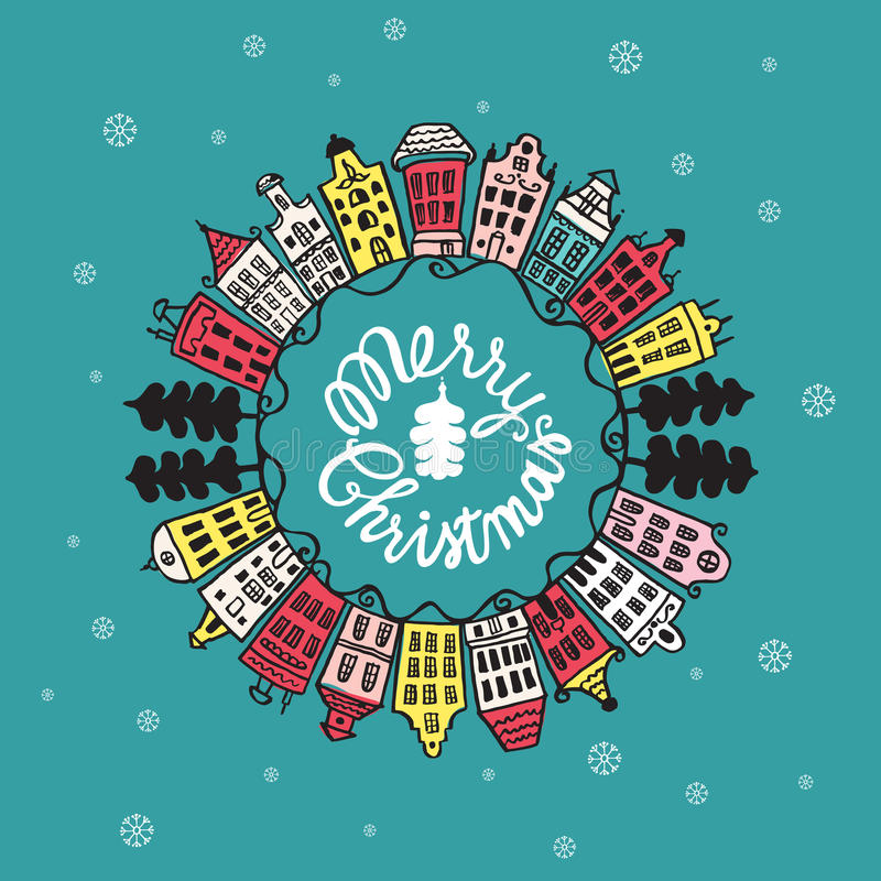 Christmas vintage card with with hand drawn lettering and urban landscape vector illustration