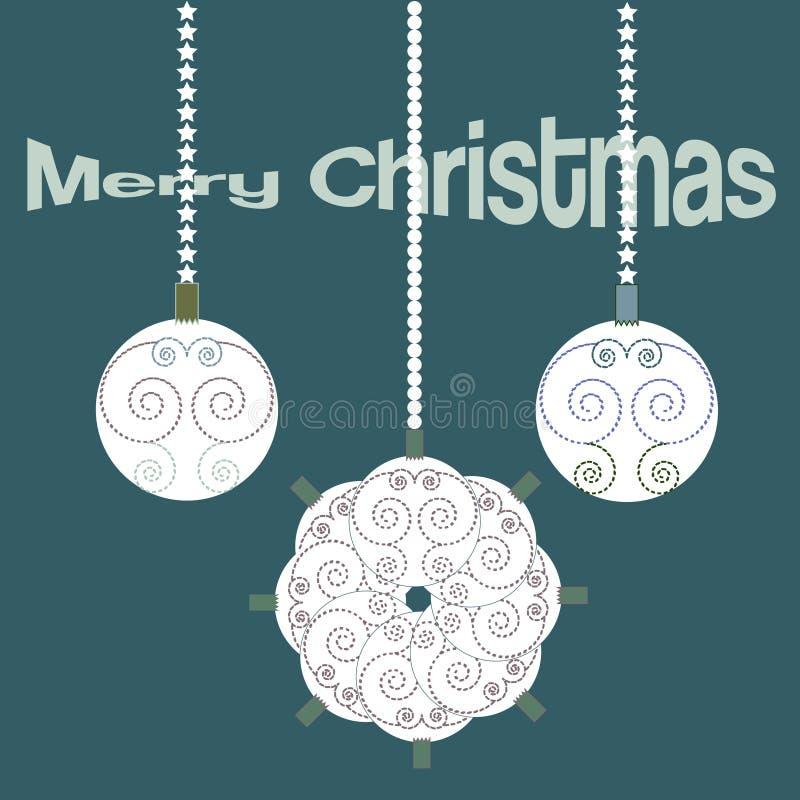 Christmas vintage elegand card with decorative balls vector illustration