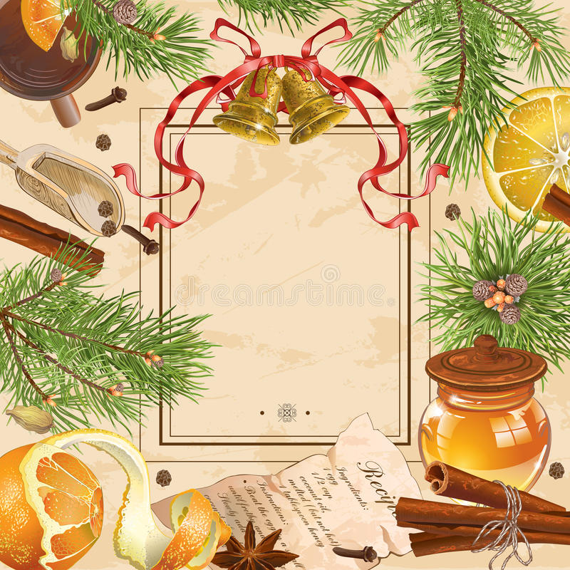 Christmas vintage frame stock illustration. Illustration of recipe ...