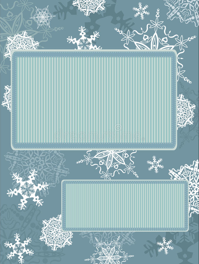 Christmas Vintage Frame With Snowflakes Royalty Free Stock Images