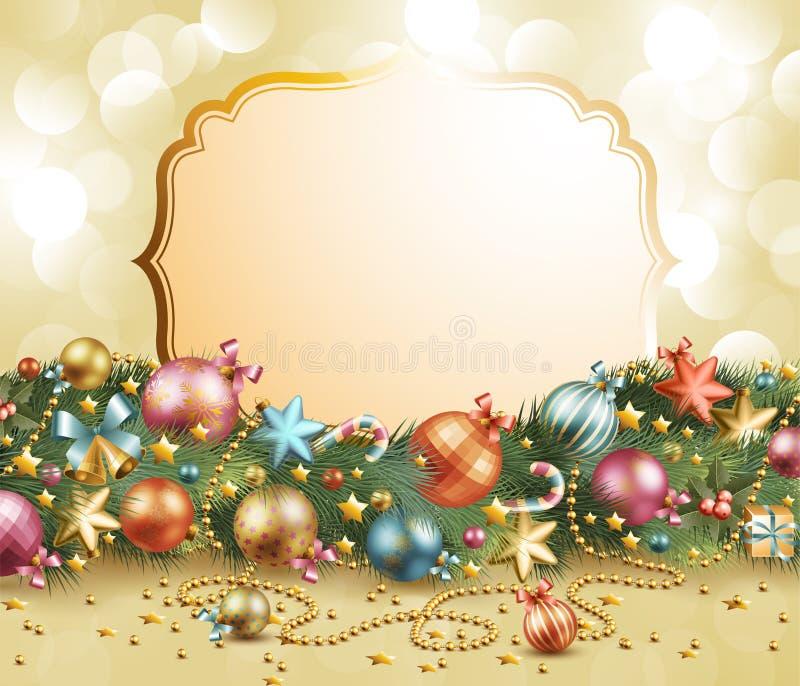 Christmas vintage garland royalty free illustration