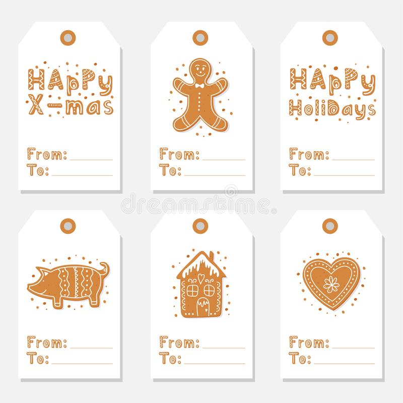 Christmas vintage gift tags set with gingerbread cookies. Figures of house, pig and heart, gingerbread man decorated glaze isolated. Lettering Merry Christmas royalty free illustration