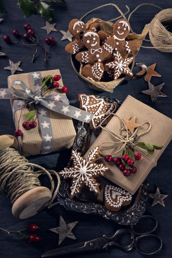 Christmas vintage gifts stock photo