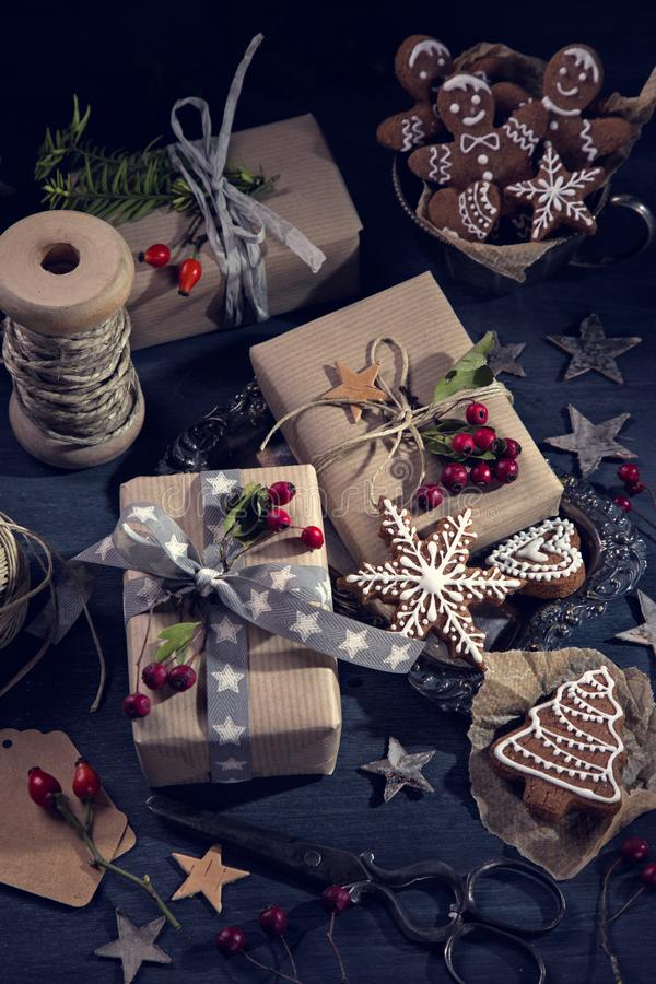 Christmas vintage gifts royalty free stock photography