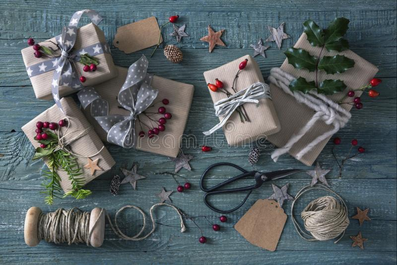 Christmas vintage gifts stock photography