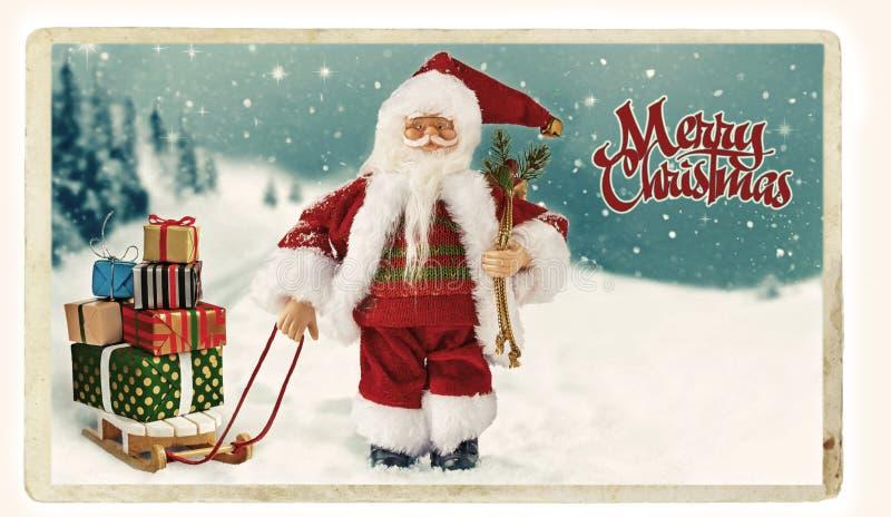 Christmas vintage Greeting card with Santa. royalty free stock image