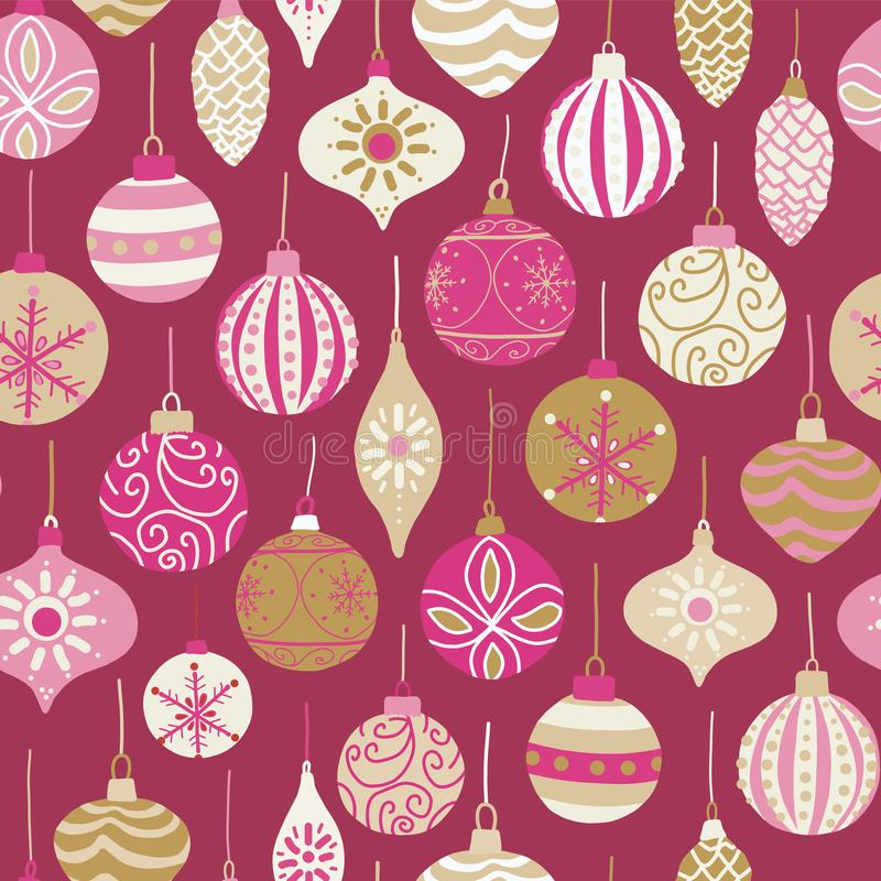 Christmas vintage ornaments pink, gold, beige seamless vector pattern background. Repeated retro Christmas texture. Vector print stock illustration