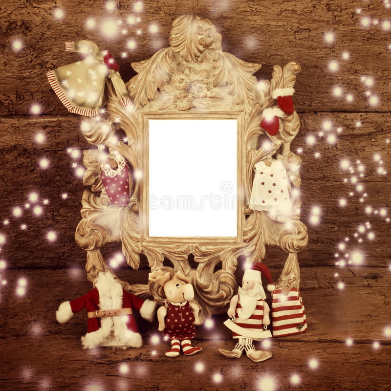 Christmas vintage photo frame with Santa Claus stock photography