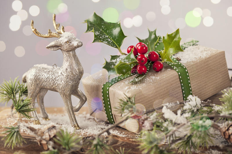 Christmas vintage present royalty free stock images
