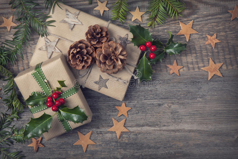 Christmas vintage presents stock photography