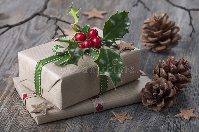Christmas vintage presents royalty free stock image