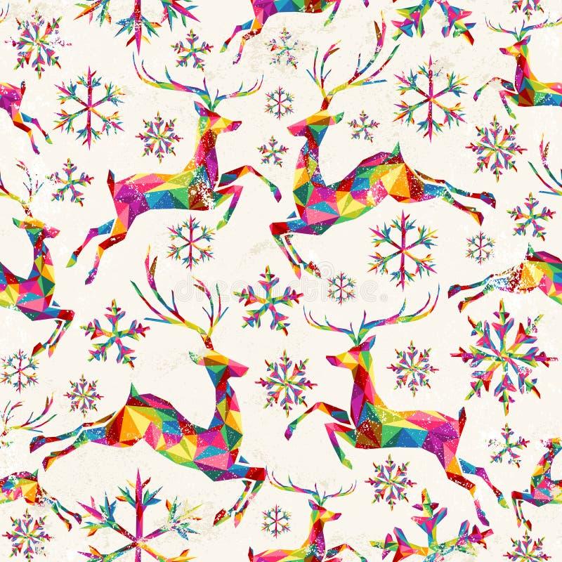 Christmas vintage retro seamless pattern background stock illustration