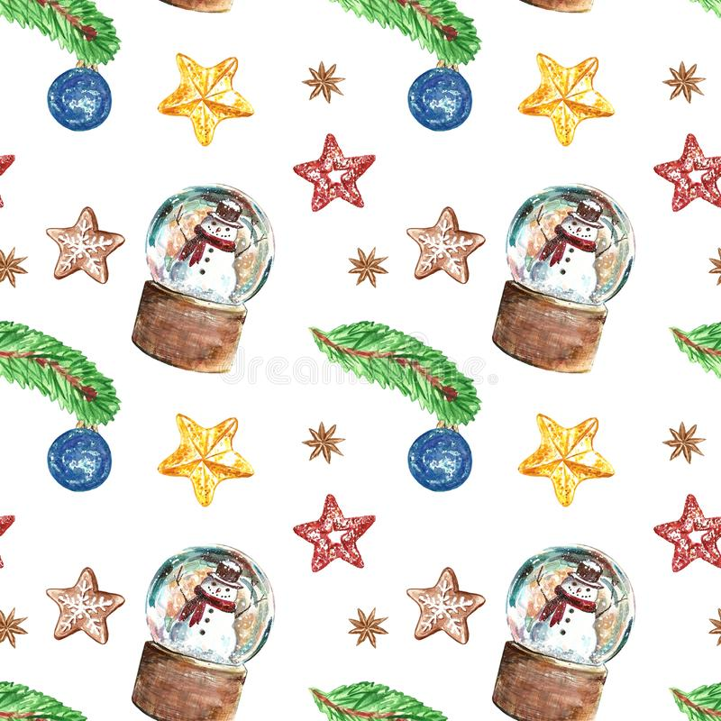 Christmas vintage style seamless pattern with snowmen in a snow globe, Christmas tree pine branch, ornament, stars on white royalty free stock photos