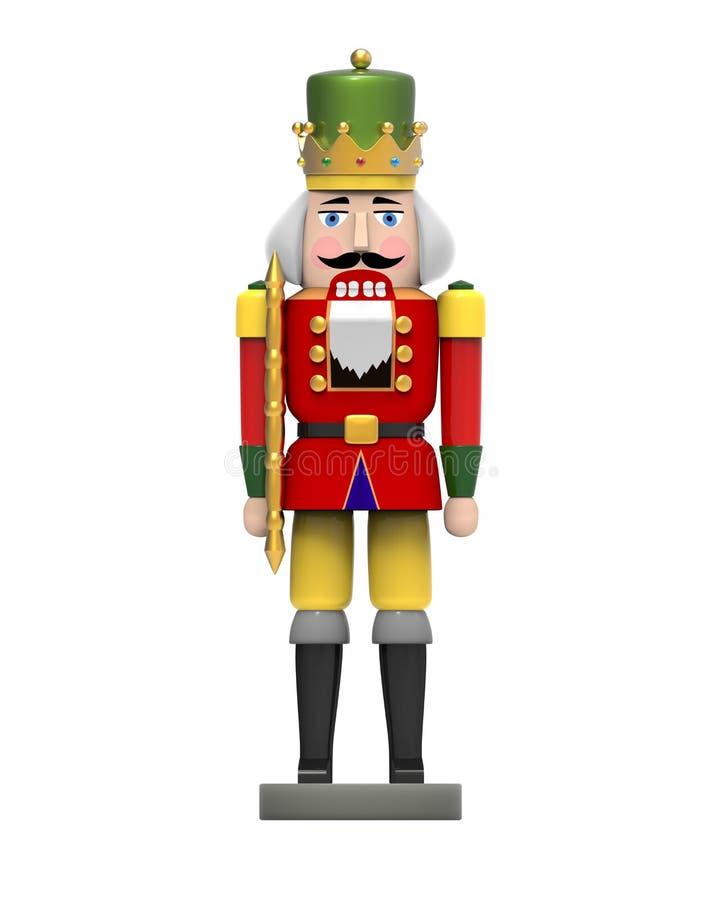 Christmas vintage wooden nutcracker toy. 3D image on white background vector illustration