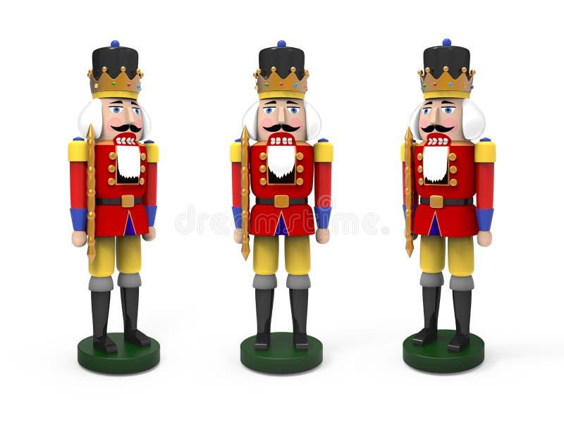 Christmas vintage wooden nutcracker toys. 3D image on white background royalty free illustration