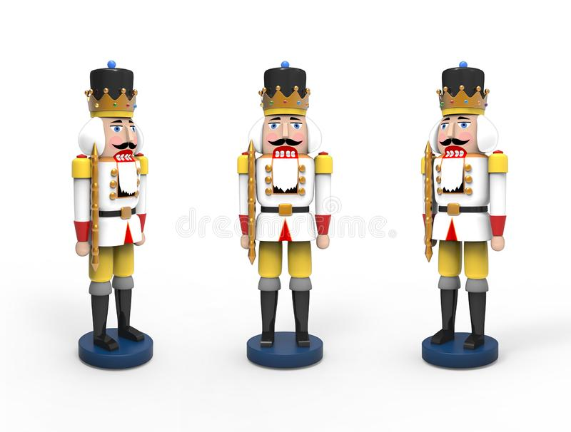 Christmas vintage wooden nutcracker toys. 3D image on white background vector illustration