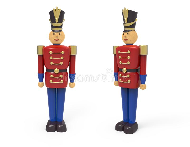 Christmas vintage wooden soldier toys. 3D image on white background stock illustration