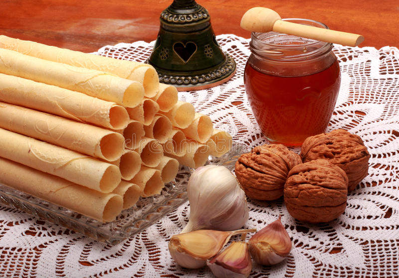 Christmas wafers stock images