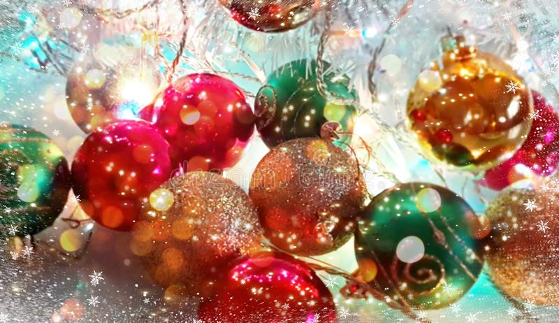 Christmas  wallpaper holiday white gold silver red green balls with snowflakes  light decoration light new year blurry lights back. Modern Christmas tree stock photography