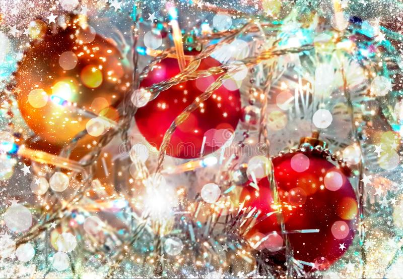 Christmas  wallpaper holiday white gold silver red green balls with snowflakes  light decoration light new year blurry lights back. Modern Christmas tree royalty free stock photography