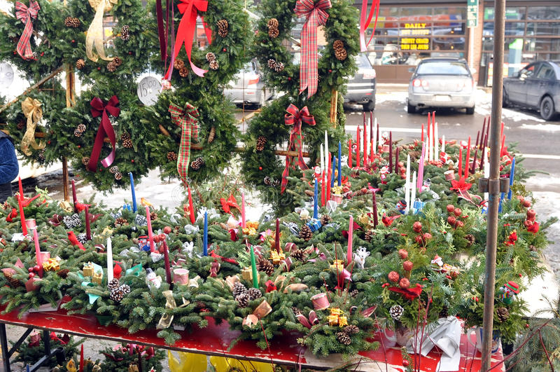 Christmas wares for sale stock photos