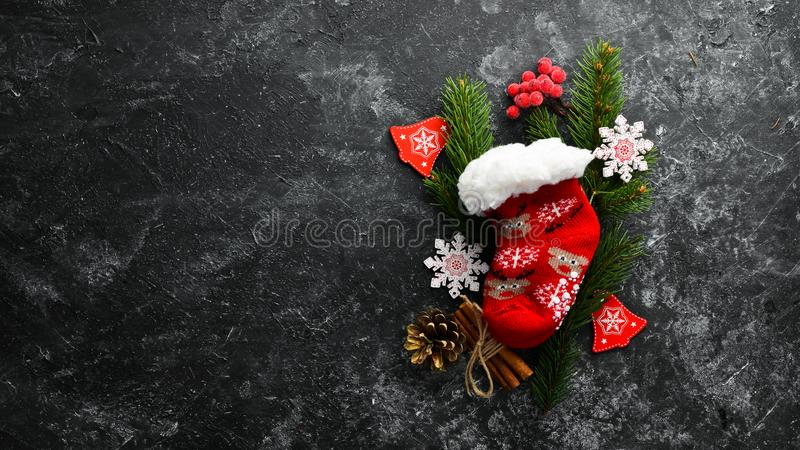 Christmas warm socks and scenery. royalty free stock photo