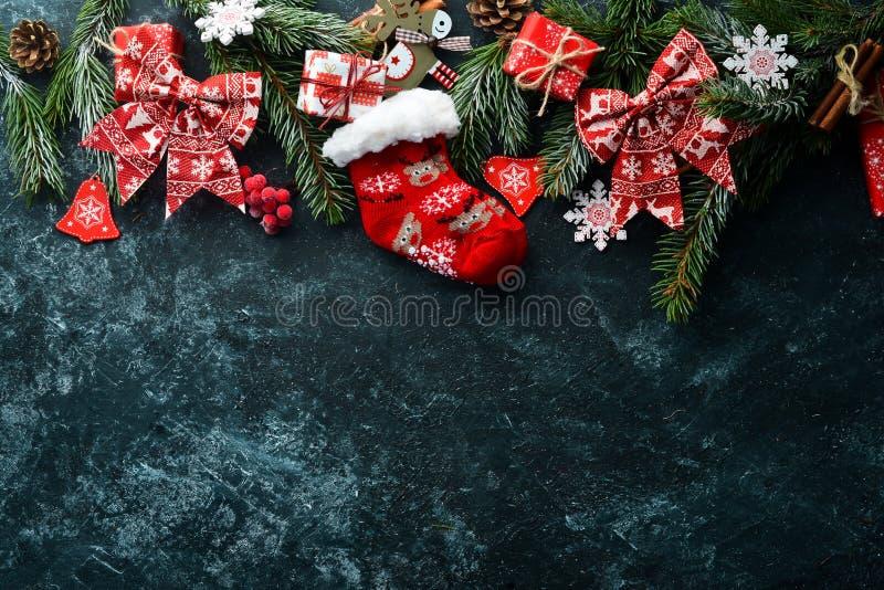 Christmas warm socks and scenery. stock photography