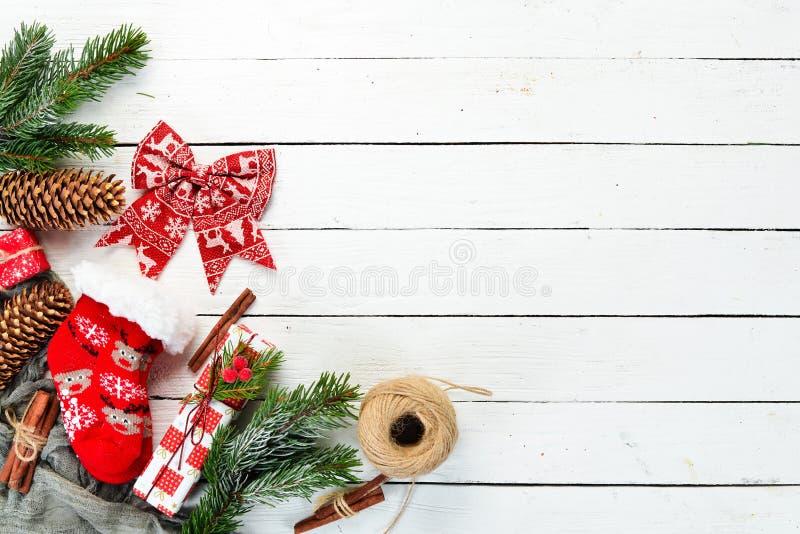 Christmas warm socks and scenery. royalty free stock photography