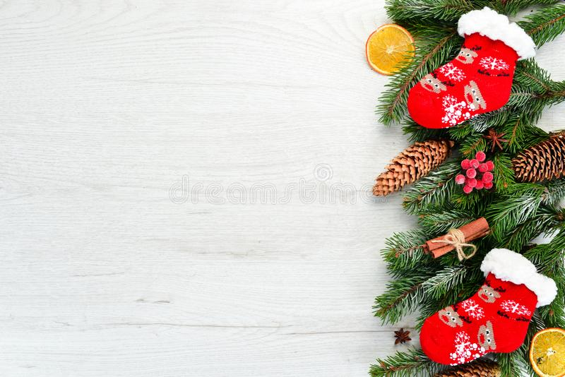 Christmas warm socks and scenery. stock images