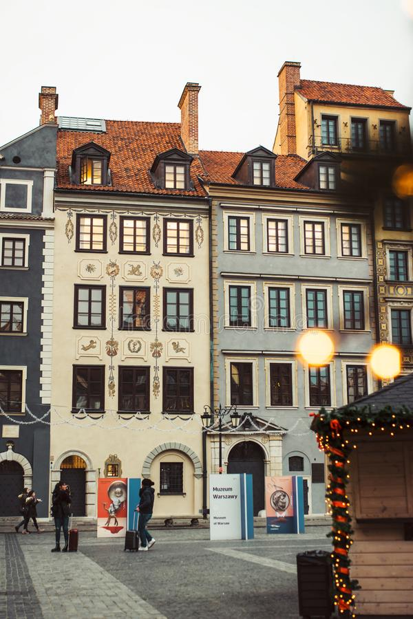 Christmas in Warsaw Old Town Market Square, Poland royalty free stock photo
