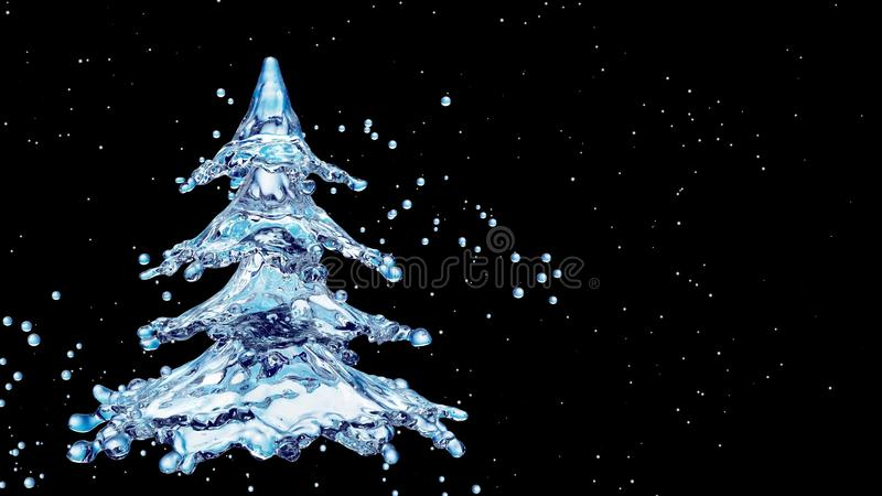 Christmas water splash tree on black background stock illustration
