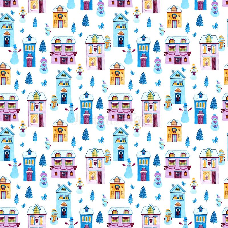 Christmas watercolor background. Seamless pattern with houses and snowmans. Design elements for wallpaper, wrapping royalty free illustration