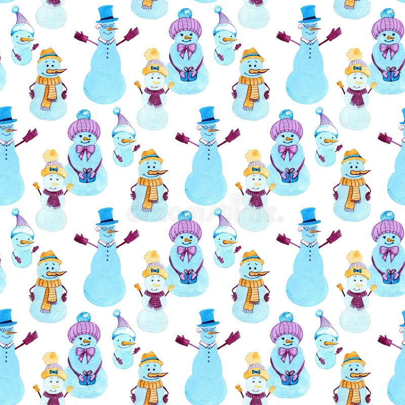 Christmas watercolor background. Seamless pattern with snowmans. Design elements for wallpaper, wrapping, decoration. Banner, screens stock images