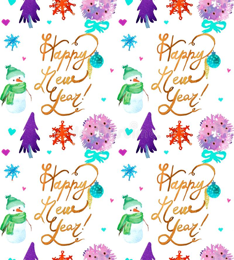 Christmas Watercolor beautiful seamless pattern with deer, wreath, snowflakes and snowman. royalty free illustration