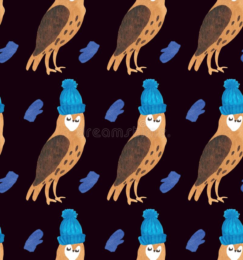 Christmas Watercolor beautiful seamless pattern with owls, mittens, and hats. Holidays decorative prints for textile, paper, cards etc. Cute owl in hat royalty free illustration