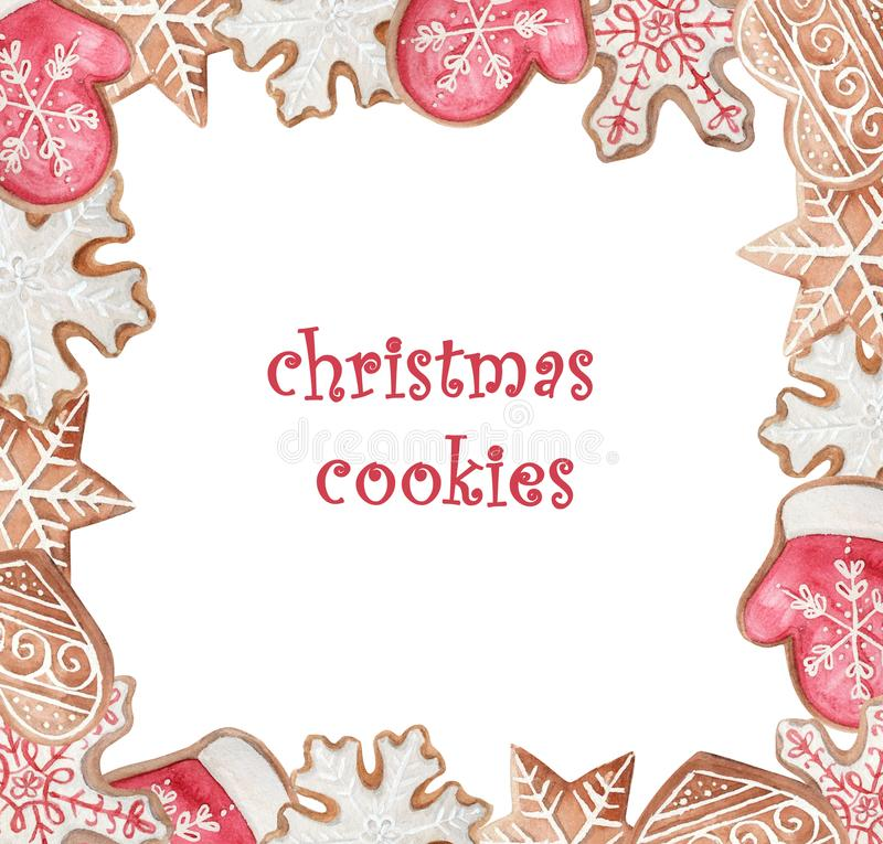 Christmas watercolor cookies frame stock photos