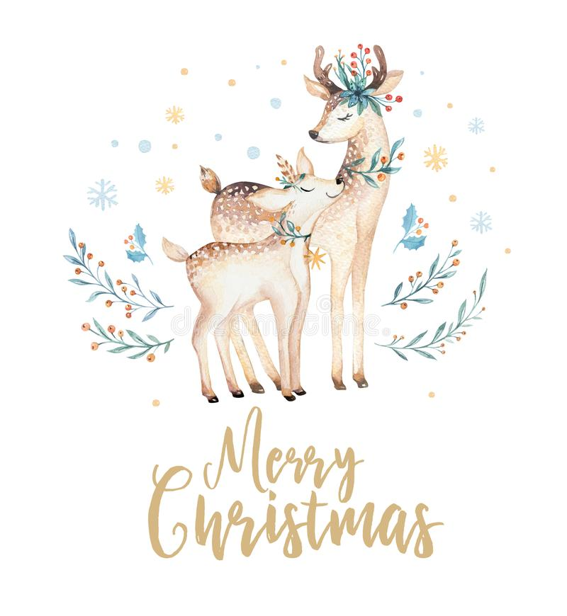 Christmas watercolor deer. Cute kids xmas forest animal illustration, new year card or poster. Hand drawn isolated baby vector illustration