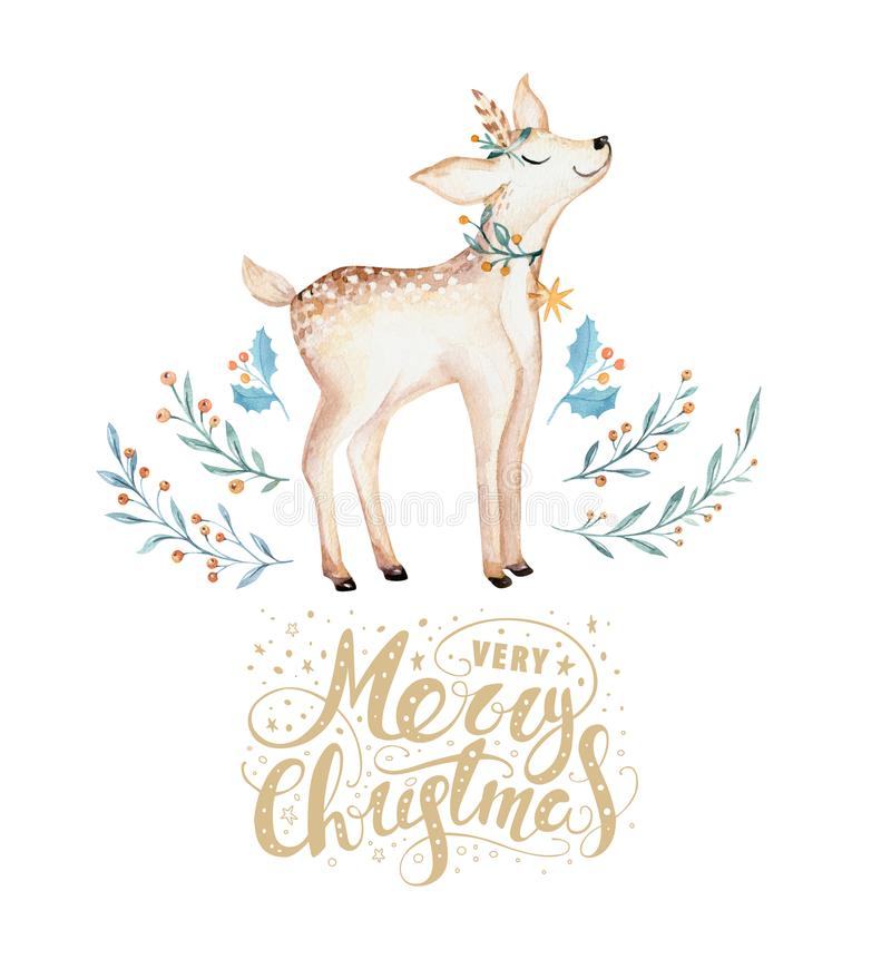 Christmas watercolor deer. Cute kids xmas forest animal illustration, new year card or poster. Hand drawn isolated baby stock illustration