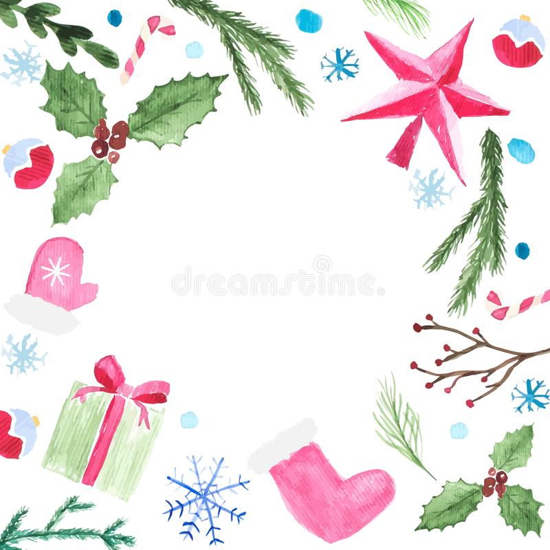 Christmas watercolor elements placed as frame. Vector illustration of christmas sock, star, fir branch, winter berries, Christmas stock illustration