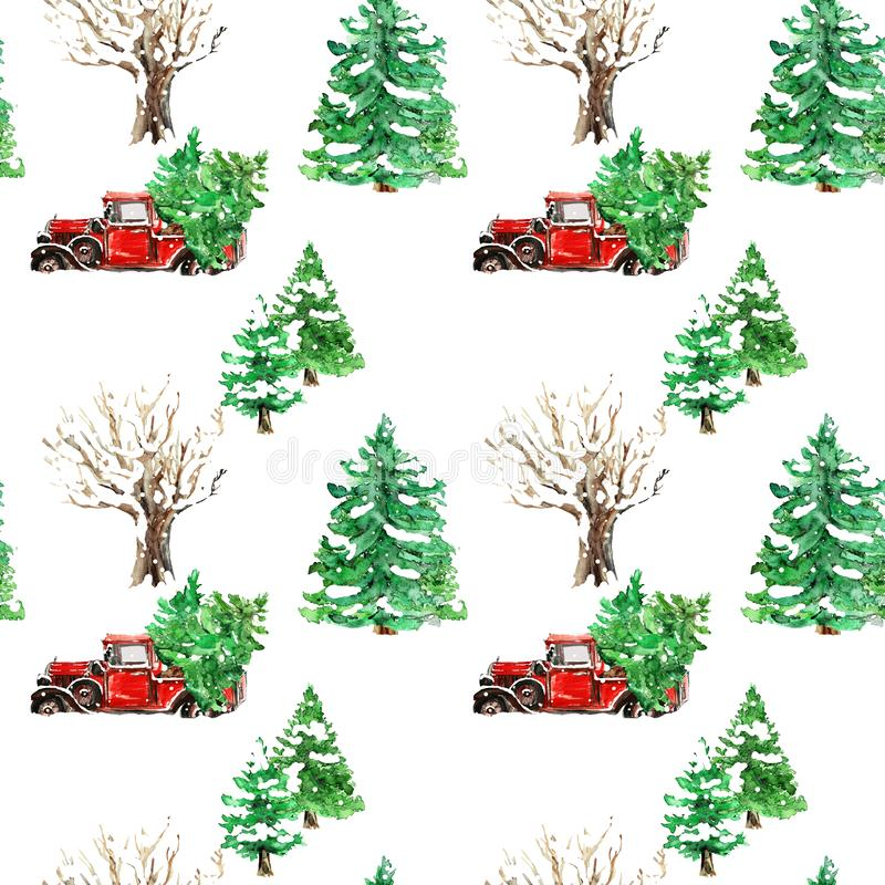 Christmas Watercolor hand drawn artistic colorful retro vintage truck pickup car with Christmas tree seamless pattern vector illustration