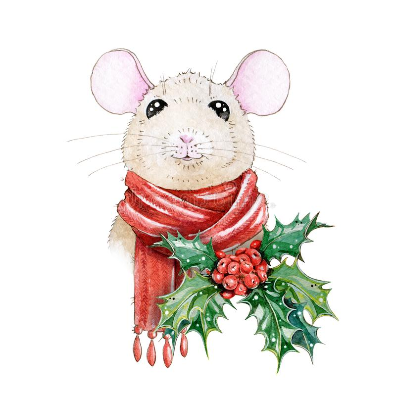 Christmas watercolor hand painted illustration of a nice mouse in a cozy winter red warm scarf. A chinese new year symbol of 2020. vector illustration