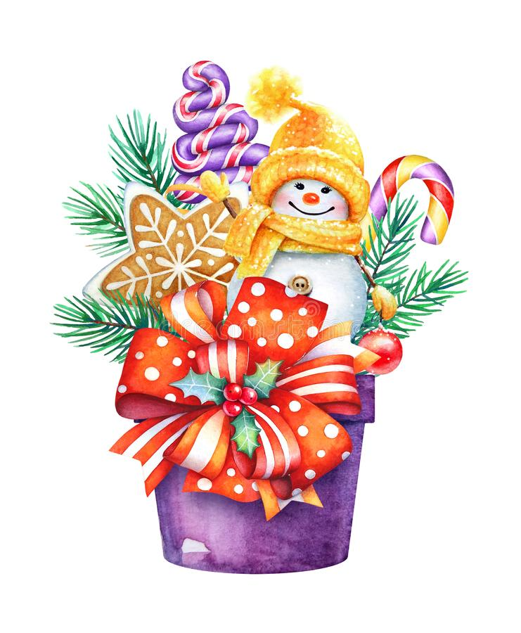 Christmas watercolor illustration of a box with sweet presents a royalty free illustration