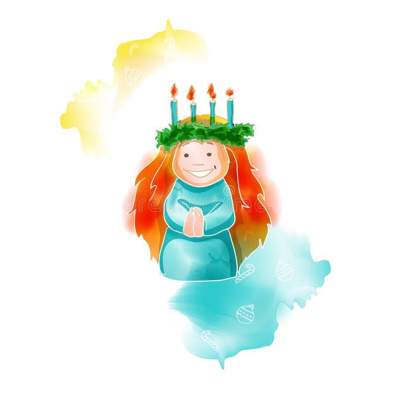 Christmas watercolor santa lucia greeting card, illustration vector illustration