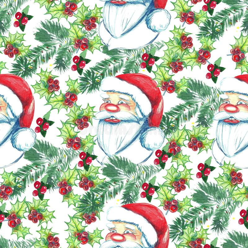 Christmas watercolor seamless hand painted pattern with holly, m vector illustration