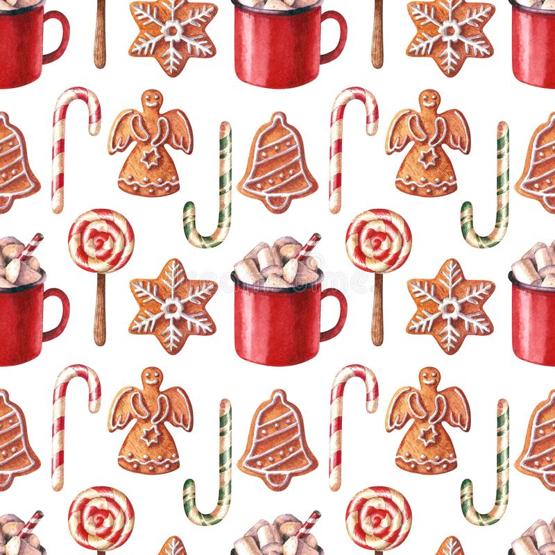Christmas watercolor seamless pattern with gingerbreads, red mug, lollypop and candy canes. stock image