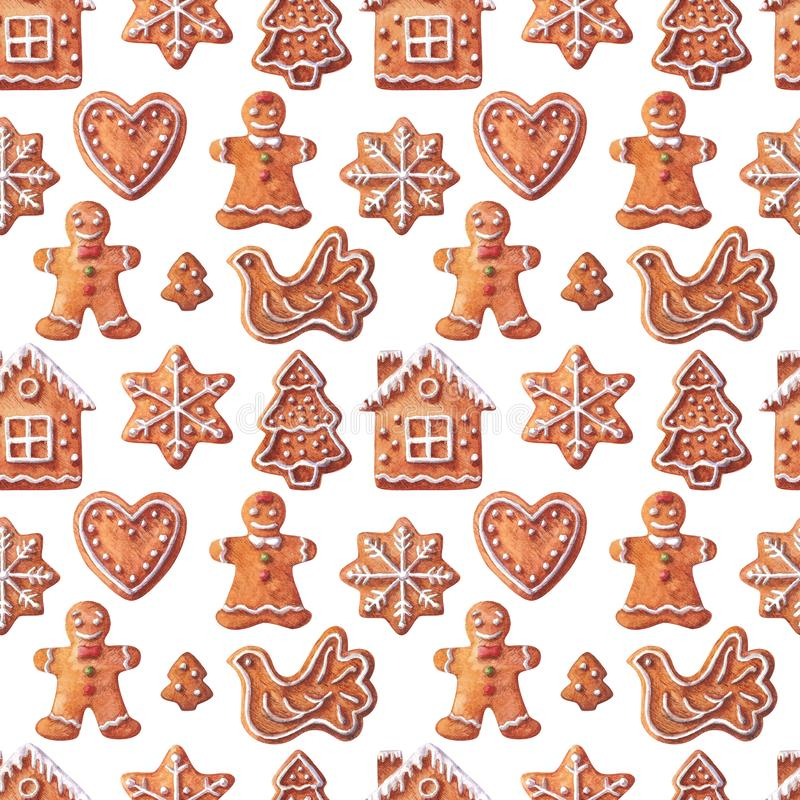 Christmas watercolor seamless pattern traditional gingerbreads bird, small house, girl, boy, snowflake, heart, Christmas tree. royalty free stock photography