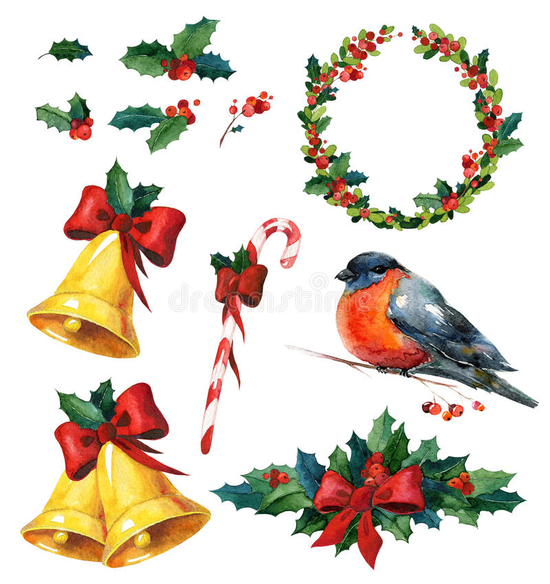 Christmas watercolor set with holly, red winter bird bullfinch, wreath, golden bells and candy cane. Can be used for wrapping paper or card design royalty free illustration