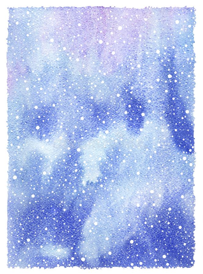 Christmas watercolor texture with falling snow, snowflakes stock illustration