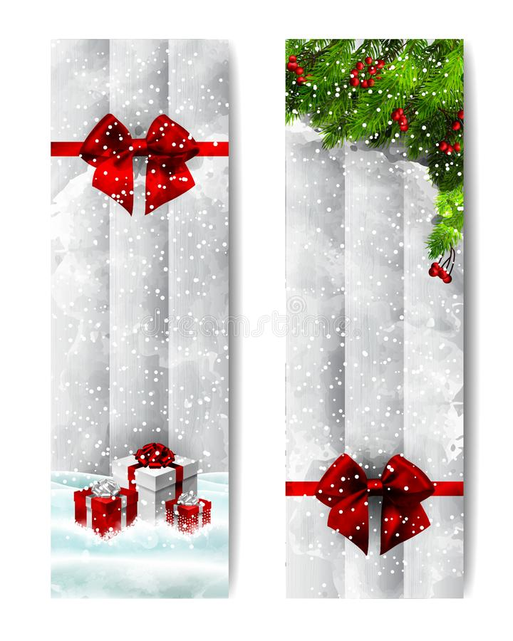 Christmas watercolor vertical banners stock images