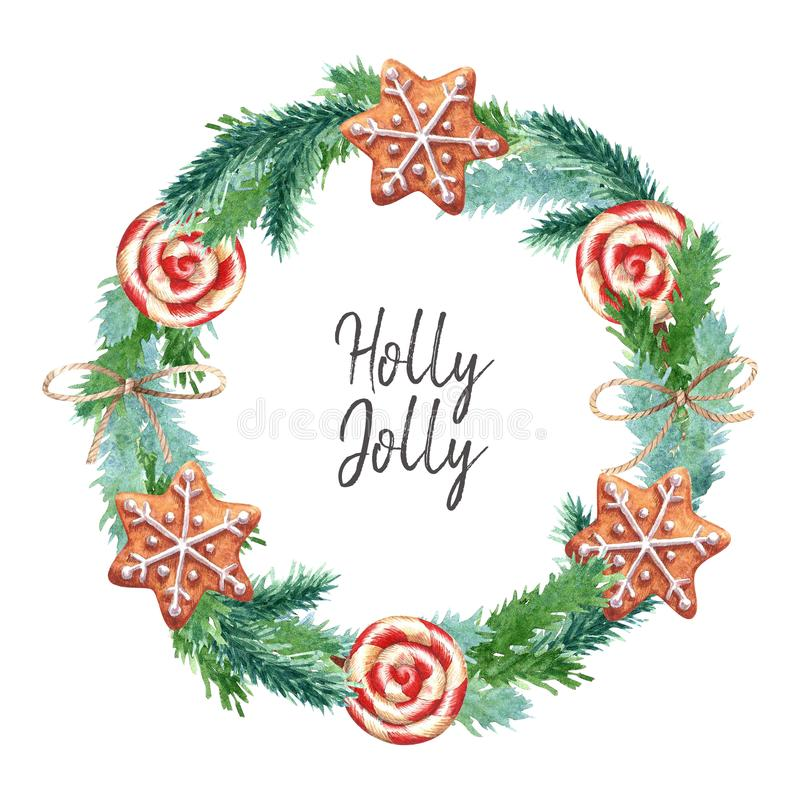 Christmas watercolor wreath with striped lollipops, gingerbreads, ropes. vector illustration